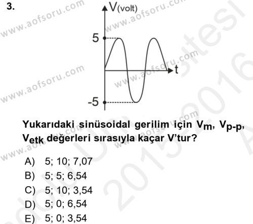Elektrik Enerjisi İletimi ve Dağıtımı Dersi 2015 - 2016 Yılı Ara Sınavı 3. Soru