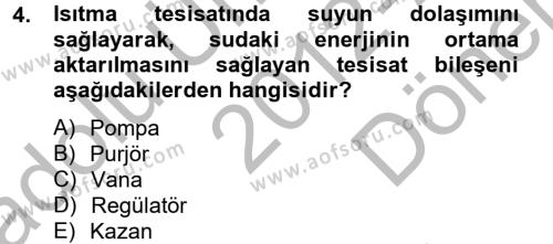 Elektrik Enerjisi Üretim, İletim ve Dağıtımı Bölümü 4. Yarıyıl Isıtma Havalandırma ve Klima Sistemlerinde Enerji Ekonomisi Dersi 2013 Yılı Bahar Dönemi Dönem Sonu Sınavı 4. Soru