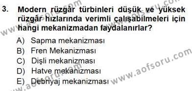 Elektrik Enerjisi Üretimi Dersi 2012 - 2013 Yılı Dönem Sonu Sınavı 3. Soru