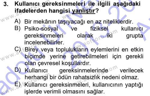 Emlak ve Emlak Yönetimi Bölümü 3. Yarıyıl Bina ve Yapım Bilgisi Dersi 2014 Yılı Güz Dönemi Ara Sınavı 3. Soru