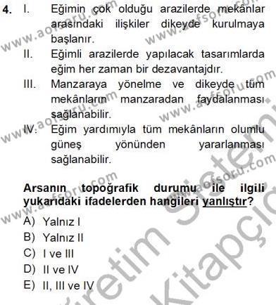 Emlak ve Emlak Yönetimi Bölümü 3. Yarıyıl Bina ve Yapım Bilgisi Dersi 2014 Yılı Güz Dönemi Tek Ders Sınavı 4. Soru
