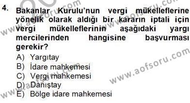 Emlak ve Emlak Yönetimi Bölümü 3. Yarıyıl Gayrimenkullerde Vergilendirme Dersi 2013 Yılı Güz Dönemi Ara Sınavı 4. Soru