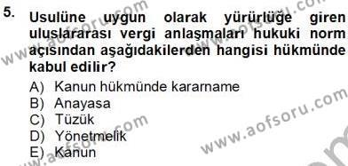 Emlak ve Emlak Yönetimi Bölümü 3. Yarıyıl Gayrimenkullerde Vergilendirme Dersi 2013 Yılı Güz Dönemi Ara Sınavı 5. Soru