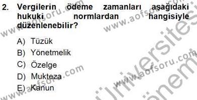Emlak ve Emlak Yönetimi Bölümü 3. Yarıyıl Gayrimenkullerde Vergilendirme Dersi 2013 Yılı Güz Dönemi Dönem Sonu Sınavı 2. Soru