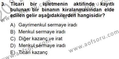Gayrimenkullerde Vergilendirme Dersi 2012 - 2013 Yılı Dönem Sonu Sınavı 3. Soru
