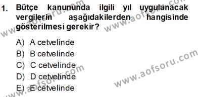 Emlak ve Emlak Yönetimi Bölümü 3. Yarıyıl Gayrimenkullerde Vergilendirme Dersi 2014 Yılı Güz Dönemi Ara Sınavı 1. Soru