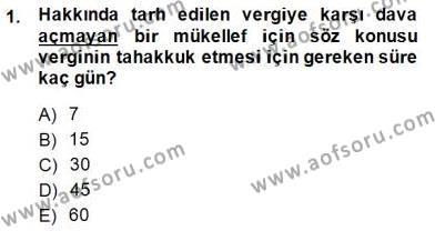 Gayrimenkullerde Vergilendirme Dersi 2013 - 2014 Yılı Dönem Sonu Sınavı 1. Soru