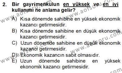 Gayrimenkul Yönetiminde Mesleki Etik Dersi 2012 - 2013 Yılı Dönem Sonu Sınavı 2. Soru