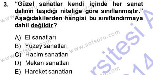 Görsel Estetik Dersi 2013 - 2014 Yılı (Vize) Ara Sınav Soruları 3. Soru
