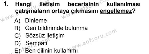 Ev İdaresi Bölümü 1. Yarıyıl Aile Yapısı ve İlişkileri Dersi 2013 Yılı Güz Dönemi Ara Sınavı 1. Soru