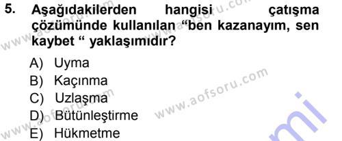 Ev İdaresi Bölümü 1. Yarıyıl Aile Yapısı ve İlişkileri Dersi 2013 Yılı Güz Dönemi Dönem Sonu Sınavı 5. Soru
