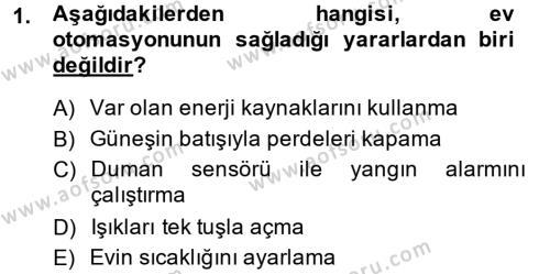 Ev İdaresi Bölümü 2. Yarıyıl Ev Teknolojisi Dersi 2014 Yılı Bahar Dönemi Ara Sınavı 1. Soru
