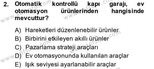 Ev İdaresi Bölümü 2. Yarıyıl Ev Teknolojisi Dersi 2014 Yılı Bahar Dönemi Ara Sınavı 2. Soru