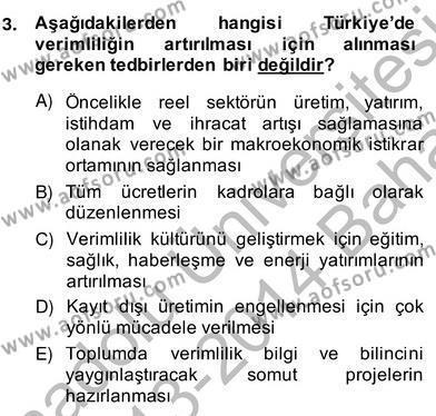 Ev İdaresi Bölümü 2. Yarıyıl İş Etüdü Dersi 2014 Yılı Bahar Dönemi Ara Sınavı 3. Soru