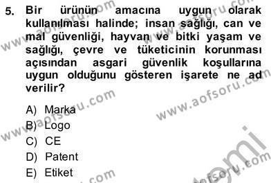 Ev İdaresi Bölümü 2. Yarıyıl İş Etüdü Dersi 2014 Yılı Bahar Dönemi Ara Sınavı 5. Soru