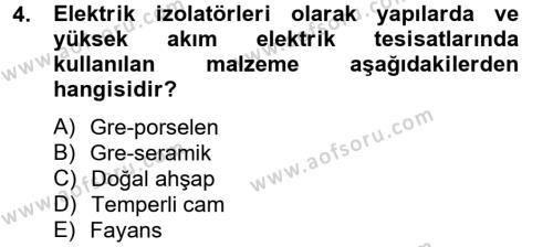Ev İdaresi Bölümü 2. Yarıyıl Konut Seçimi ve Düzenlenmesi Dersi 2013 Yılı Bahar Dönemi Dönem Sonu Sınavı 4. Soru