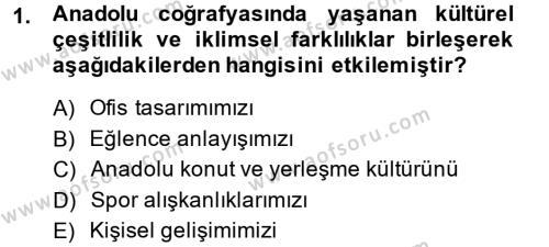 Ev İdaresi Bölümü 2. Yarıyıl Konut Seçimi ve Düzenlenmesi Dersi 2014 Yılı Bahar Dönemi Ara Sınavı 1. Soru