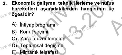 Ev İdaresi Bölümü 2. Yarıyıl Konut Seçimi ve Düzenlenmesi Dersi 2014 Yılı Bahar Dönemi Ara Sınavı 3. Soru