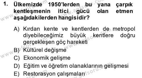 Ev İdaresi Bölümü 2. Yarıyıl Konut Seçimi ve Düzenlenmesi Dersi 2014 Yılı Bahar Dönemi Dönem Sonu Sınavı 1. Soru