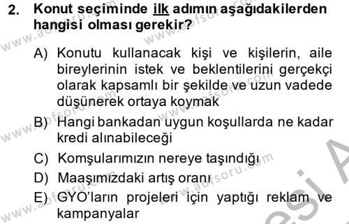 Ev İdaresi Bölümü 2. Yarıyıl Konut Seçimi ve Düzenlenmesi Dersi 2014 Yılı Bahar Dönemi Dönem Sonu Sınavı 2. Soru