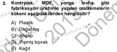 Ev İdaresi Bölümü 2. Yarıyıl Konut Seçimi ve Düzenlenmesi Dersi 2014 Yılı Bahar Dönemi Dönem Sonu Sınavı 3. Soru