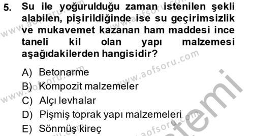 Ev İdaresi Bölümü 2. Yarıyıl Konut Seçimi ve Düzenlenmesi Dersi 2014 Yılı Bahar Dönemi Dönem Sonu Sınavı 5. Soru