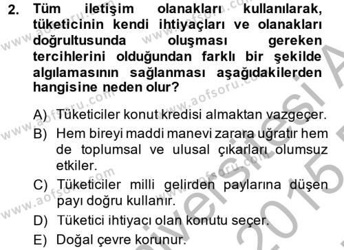 Ev İdaresi Bölümü 2. Yarıyıl Konut Seçimi ve Düzenlenmesi Dersi 2015 Yılı Bahar Dönemi Ara Sınavı 2. Soru