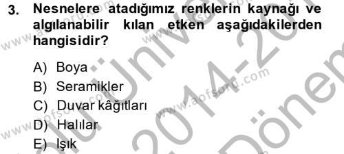 Ev İdaresi Bölümü 2. Yarıyıl Konut Seçimi ve Düzenlenmesi Dersi 2015 Yılı Bahar Dönemi Dönem Sonu Sınavı 3. Soru