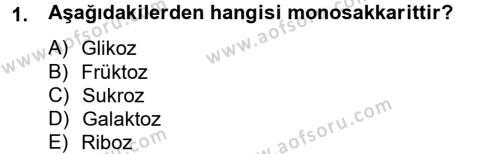 Ev İdaresi Bölümü 2. Yarıyıl Genel Beslenme Dersi 2013 Yılı Bahar Dönemi Ara Sınavı 1. Soru