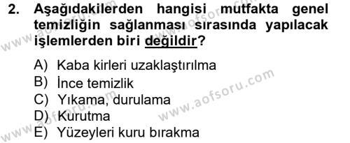 Ev İdaresi Bölümü 2. Yarıyıl Genel Beslenme Dersi 2013 Yılı Bahar Dönemi Dönem Sonu Sınavı 2. Soru