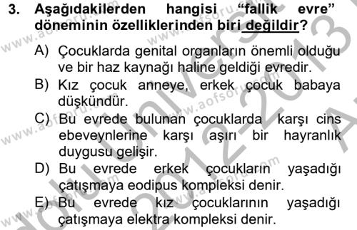 Çocuk ve Ergen Bakımı Dersi 2012 - 2013 Yılı (Vize) Ara Sınav Soruları 3. Soru
