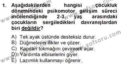 Çocuk ve Ergen Bakımı Dersi 2012 - 2013 Yılı Dönem Sonu Sınavı 1. Soru