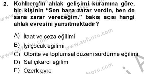 Ev İdaresi Bölümü 2. Yarıyıl Çocuk ve Ergen Bakımı Dersi 2014 Yılı Bahar Dönemi Ara Sınavı 2. Soru