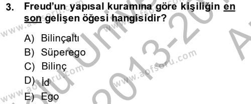 Çocuk ve Ergen Bakımı Dersi 2013 - 2014 Yılı (Vize) Ara Sınav Soruları 3. Soru