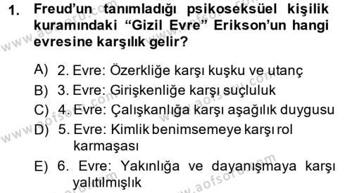 Çocuk ve Ergen Bakımı Dersi 2014 - 2015 Yılı Ara Sınavı 1. Soru