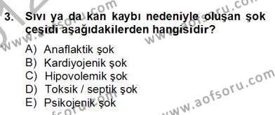 Ev İdaresi Bölümü 2. Yarıyıl Ev Kazaları ve İlk Yardım Dersi 2013 Yılı Bahar Dönemi Dönem Sonu Sınavı 3. Soru