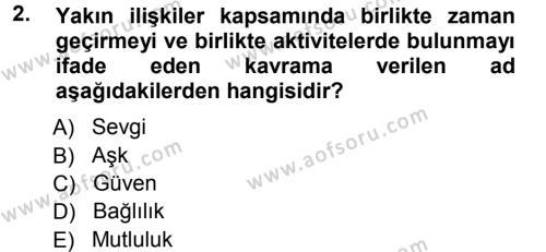 Ev İdaresi Bölümü 3. Yarıyıl Aile İçi Uyumlu Etkileşim Dersi 2013 Yılı Güz Dönemi Ara Sınavı 2. Soru