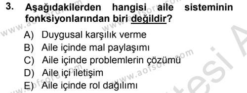 Ev İdaresi Bölümü 3. Yarıyıl Aile İçi Uyumlu Etkileşim Dersi 2014 Yılı Güz Dönemi Tek Ders Sınavı 3. Soru