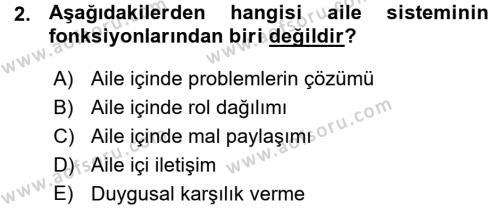 Ev İdaresi Bölümü 3. Yarıyıl Aile İçi Uyumlu Etkileşim Dersi 2016 Yılı Güz Dönemi Ara Sınavı 2. Soru