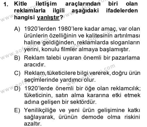 Tüketim Bilinci ve Bilinçli Tüketici Dersi 2013 - 2014 Yılı Ara Sınavı 1. Soru