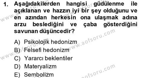 Tüketim Bilinci ve Bilinçli Tüketici Dersi 2013 - 2014 Yılı Dönem Sonu Sınavı 1. Soru