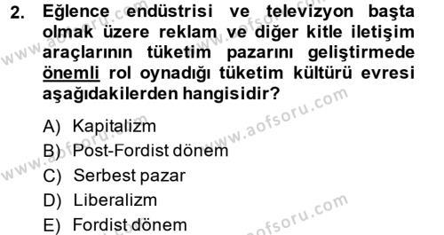 Tüketim Bilinci ve Bilinçli Tüketici Dersi 2014 - 2015 Yılı Ara Sınavı 2. Soru
