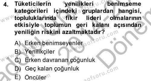 Tüketim Bilinci ve Bilinçli Tüketici Dersi 2014 - 2015 Yılı Dönem Sonu Sınavı 4. Soru