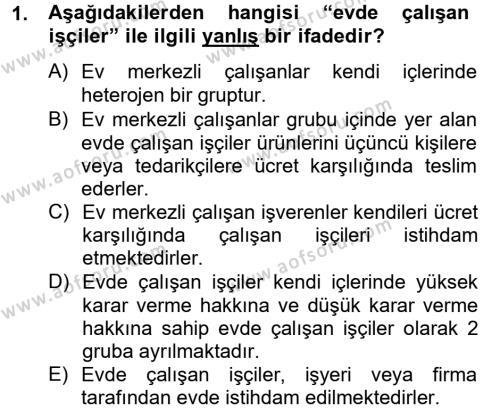 Ev İdaresi Bölümü 4. Yarıyıl Ev Endüstrisi Dersi 2013 Yılı Bahar Dönemi Ara Sınavı 1. Soru