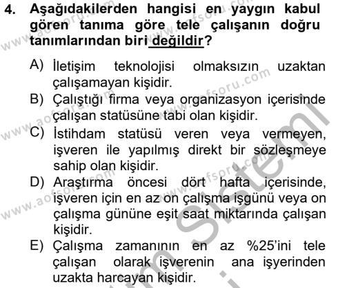 Ev İdaresi Bölümü 4. Yarıyıl Ev Endüstrisi Dersi 2013 Yılı Bahar Dönemi Dönem Sonu Sınavı 4. Soru