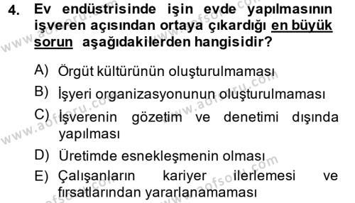 Ev İdaresi Bölümü 4. Yarıyıl Ev Endüstrisi Dersi 2014 Yılı Bahar Dönemi Ara Sınavı 4. Soru