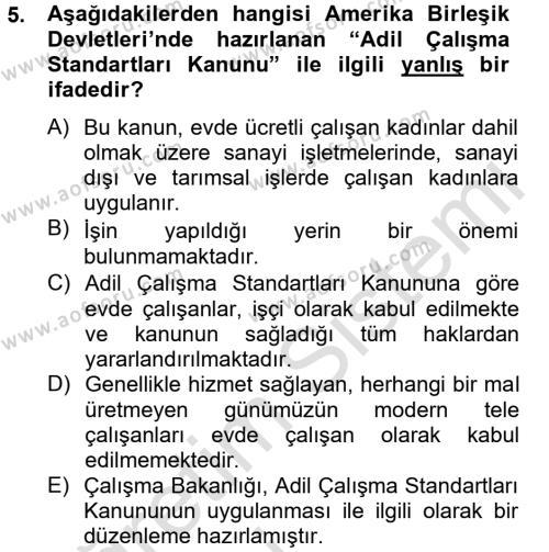 Ev İdaresi Bölümü 4. Yarıyıl Ev Endüstrisi Dersi 2014 Yılı Bahar Dönemi Tek Ders Sınavı 5. Soru