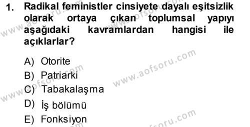 Ev İdaresi Bölümü 3. Yarıyıl Toplumsal Yaşamda Aile Dersi 2014 Yılı Güz Dönemi Ara Sınavı 1. Soru
