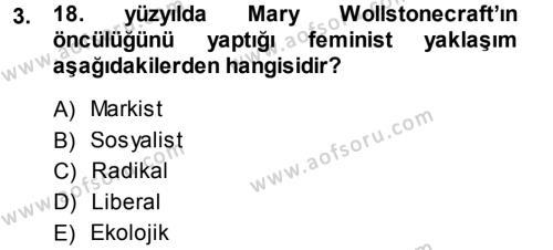 Ev İdaresi Bölümü 3. Yarıyıl Toplumsal Yaşamda Aile Dersi 2014 Yılı Güz Dönemi Ara Sınavı 3. Soru