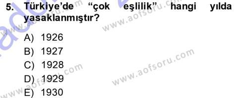 Ev İdaresi Bölümü 3. Yarıyıl Toplumsal Yaşamda Aile Dersi 2015 Yılı Güz Dönemi Ara Sınavı 5. Soru